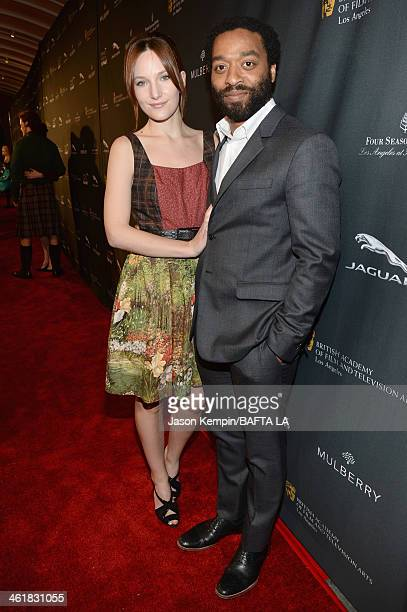Sari Mercer and actor Chiwetel Ejiofor attend the BAFTA LA 2014 Awards Season Tea Party at the Four Seasons Hotel Los Angeles at Beverly Hills on...