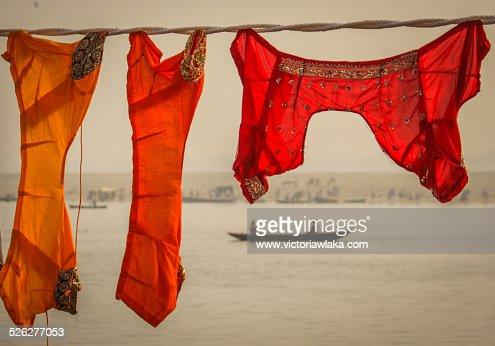 Sari tops hung up to dry at Dhobi Ghat, Varanasi