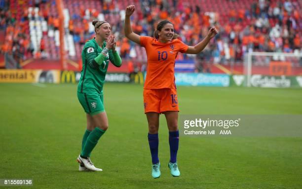 Sari van Veenedaal and Danielle Van de Donk of Netherlands Women celebrate during the UEFA Women's Euro 2017 Group A match between Netherlands and...