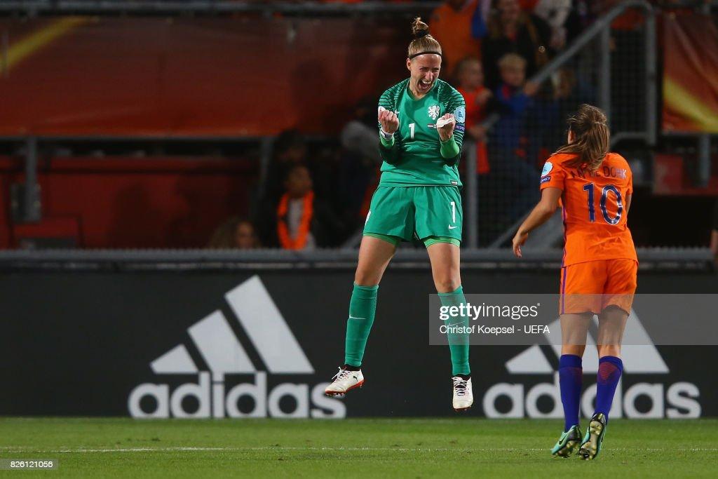 Sari van Veenendaal and Danielle van de Donk of the Netherlands celebrate after winning 3-0 the UEFA Women's Euro 2017 Second Semi Final match between Netherlands and England at De Grolsch Veste Stadium on August 3, 2017 in Enschede, Netherlands.