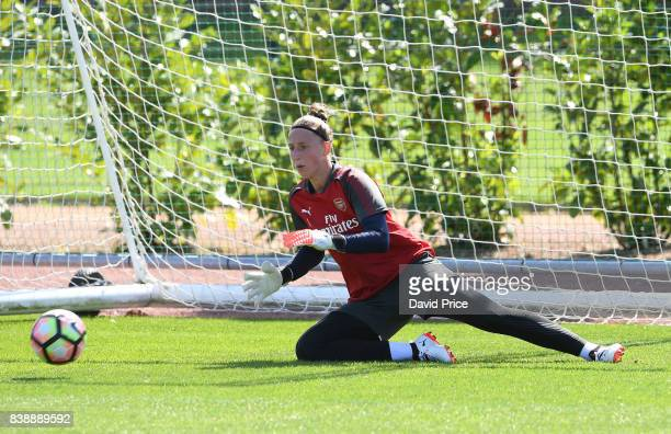 Sari van Veenendaal of Arsenal Women during an Arsenal Women Training Session at London Colney on August 25 2017 in St Albans England