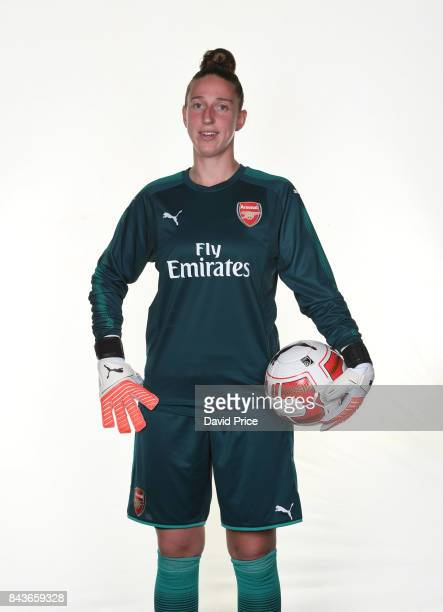 Sari van Veenendaal of Arsenal Women during the Arsenal Women 1st Team Photocall at London Colney on September 6 2017 in St Albans England