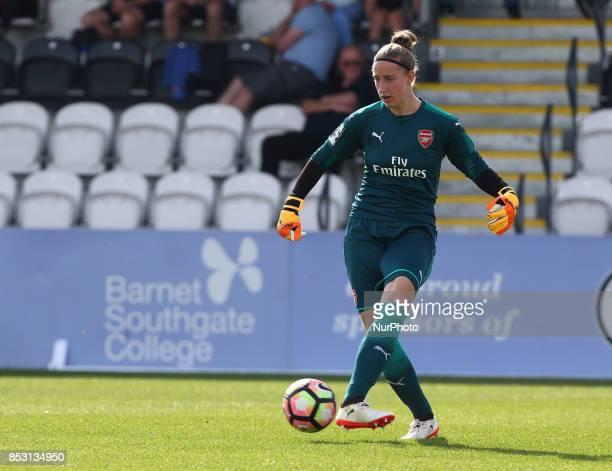 Sari van Veenendaal of Arsenal Women during Women's Super League 1 match between Arsenal Women against Birmingham City Ladies at Borehamwood Football...