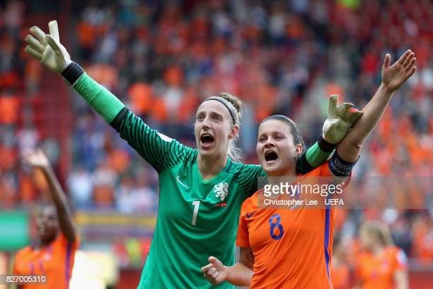 Sari van Veenendaal of the Netherlands and Sherida Spitse of the Netherlands celebrate following the Final of the UEFA Women's Euro 2017 between...