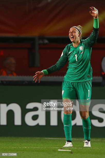 Sari van Veenendaal of the Netherlands #celebrates after winning 30 the UEFA Women's Euro 2017 Second Semi Final match between Netherlands and...