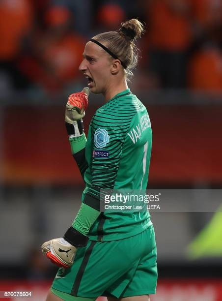 Sari van Veenendaal of The Netherlands celebrates her teams first goal of the game during the UEFA Women's Euro 2017 Semi Final match between...