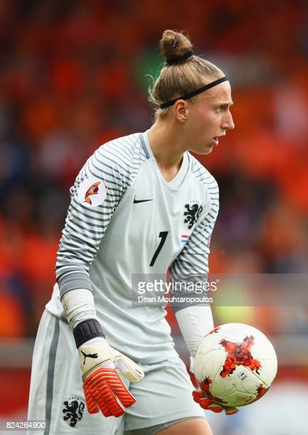 Sari van Veenendaal of the Netherlands gathers the ball during the UEFA Women's Euro 2017 Quarter Final match between Netherlands and Sweden at...