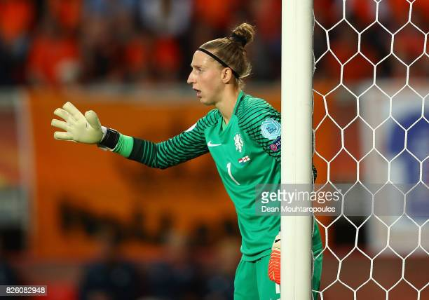 Sari van Veenendaal of The Netherlands in action during the UEFA Women's Euro 2017 Semi Final match between Netherlands and England at De Grolsch...