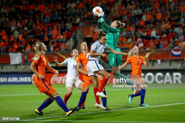Sari van Veenendaal of the Netherlands saves the ball during the UEFA Women's Euro 2017 Second Semi Final match between Netherlands and England at De...