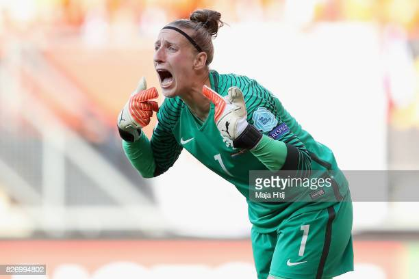 Sari van Veenendaal of the Netherlands shouts instructions during the Final of the UEFA Women's Euro 2017 between Netherlands v Denmark at FC Twente...