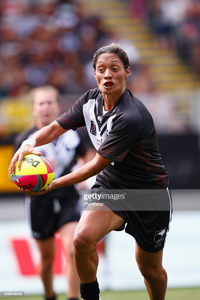 Sarina Fiso of the New Zealand Ferns during the 2016 Auckland Nines match between the Australian Jillaroos and the New Zealand Ferns at Eden Park on February 6, 2016 in Auckland, New Zealand.