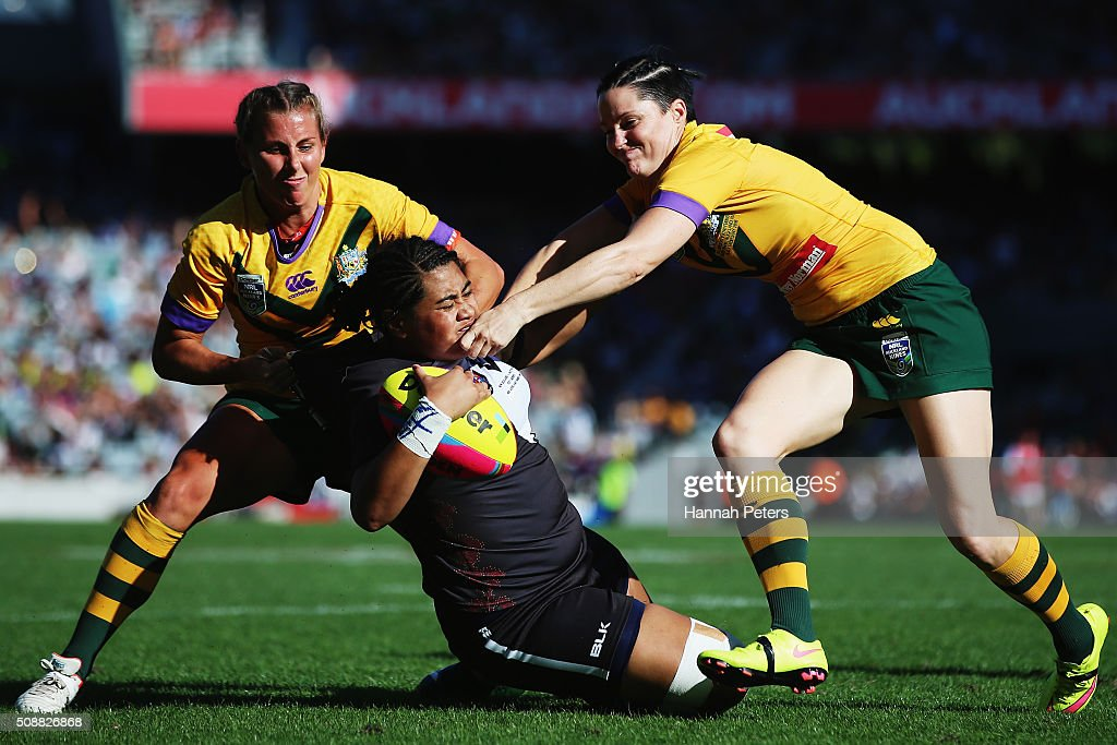 Sarina Fiso of the New Zealand Kiwi Ferns is brought down during the international women's rugby league test match between the New Zealand Ferns and the Australian Jillaroos at Eden Park on February 7, 2016 in Auckland, New Zealand.