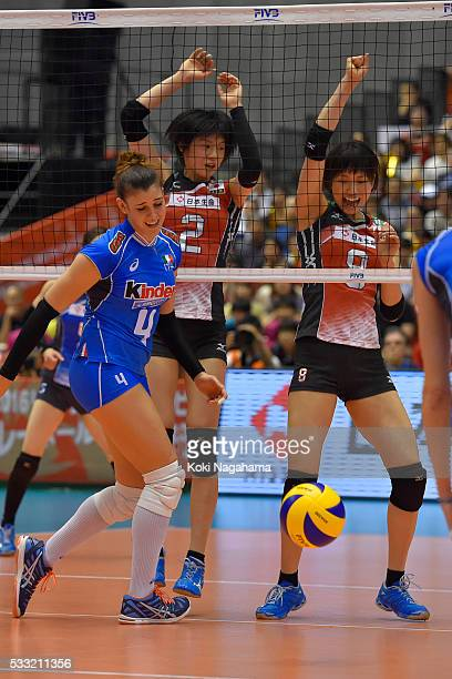 Sarina Koga of Japan blocks the ball during the Women's World Olympic Qualification game between Japan and Italy at Tokyo Metropolitan Gymnasium on...