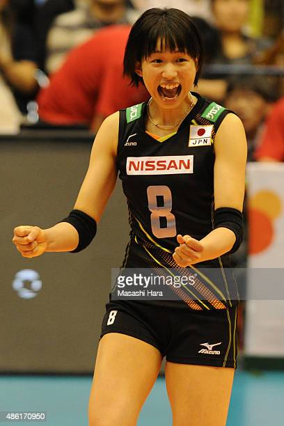 Sarina Koga of Japan celebrates a point during the match between Japan and Serbia during the FIVB Women's Volleyball World Cup Japan 2015 at Sendai...