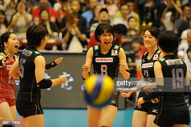 Sarina Koga of Japan celebrates a point with teammates during the match between Japan and Serbia during the FIVB Women's Volleyball World Cup Japan...