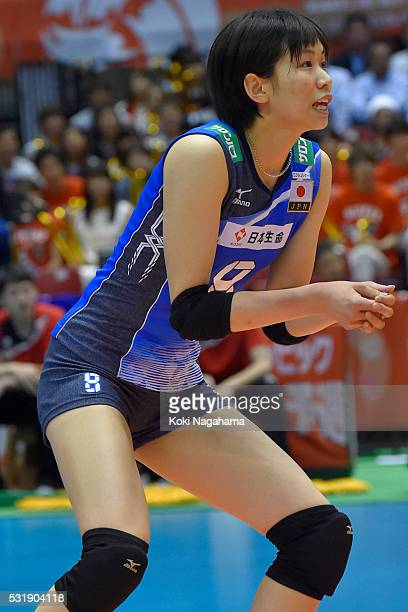 Sarina Koga of Japan looks on during the Women's World Olympic Qualification game between South Korea and Japan at Tokyo Metropolitan Gymnasium on...