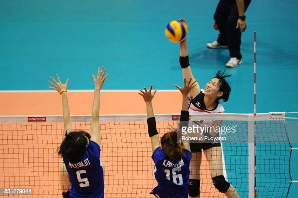 Sarina Koga of Japan spikes during the 19th Asian Senior Women's Volleyball Championship 2017 Classification match between Japan and Thailand at...