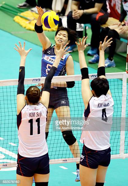 Sarina Koga of Japan spikes during the Women's World Olympic Qualification game between South Korea and Japan at the Tokyo Metropolitan Gymnasium on...