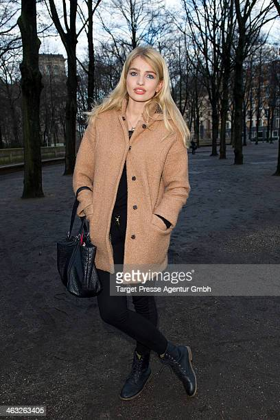 Sarina Nowak arrives at the Marina Hoermanseder show during MercedesBenz Fashion Week Autumn/Winter 2014/15 at Brandenburg Gate on January 17 2014 in...