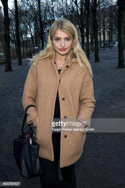 Sarina Nowak arrives at the Marina Hoermanseder show during MercedesBenz Fashion Week Autumn/Winter 2014/15 at Brandenburg Gate on January 17 2014 in...