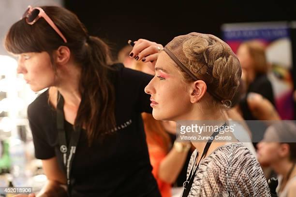 Sarina Nowak is seen backstage ahead of the Miranda Konstantinidou show during the MercedesBenz Fashion Week Spring/Summer 2015 at Erika Hess...