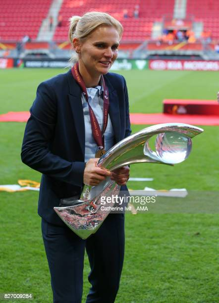 Sarina Weigman manager / head coach of Netherlands Women with the trophy during the UEFA Women's Euro 2017 final match between Denmark and...