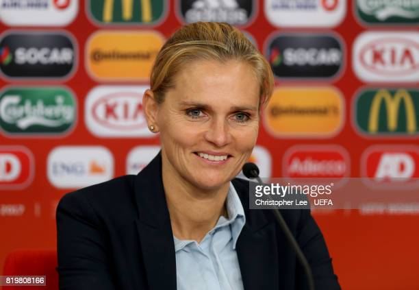 Sarina Wiegman coach of the Netherlands talks to the press during the UEFA Women's Euro 2017 Group A match between Netherlands and Denmark at Sparta...