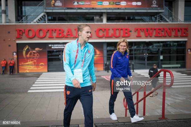 Sarina Wiegman head coach of Netherlands and Vivianne Miedema leave the stadium after a press conference prior UEFA Women's Euro 2017 Final at De...