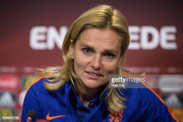 Sarina Wiegman head coach of Netherlands arrives to a press conference prior UEFA Women's Euro 2017 Final against Netherlands at De Grolsch Veste...