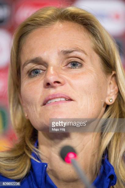 Sarina Wiegman head coach of Netherlands listens to a question during a press conference prior UEFA Women's Euro 2017 Final against Netherlands at De...