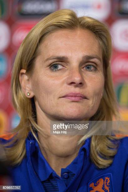 Sarina Wiegman head coach of Netherlands looks on during a press conference prior UEFA Women's Euro 2017 Final against Netherlands at De Grolsch...