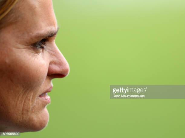 Sarina Wiegman head coach of Netherlands looks on prior to the Final of the UEFA Women's Euro 2017 between Netherlands v Denmark at FC Twente Stadium...