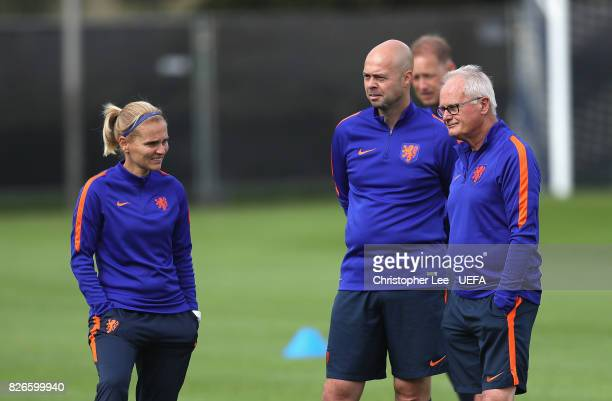 Sarina Wiegman head coach of Netherlands with her assistants during the Netherlands Training session at SV De Lutte on August 5 2017 in Enschede...