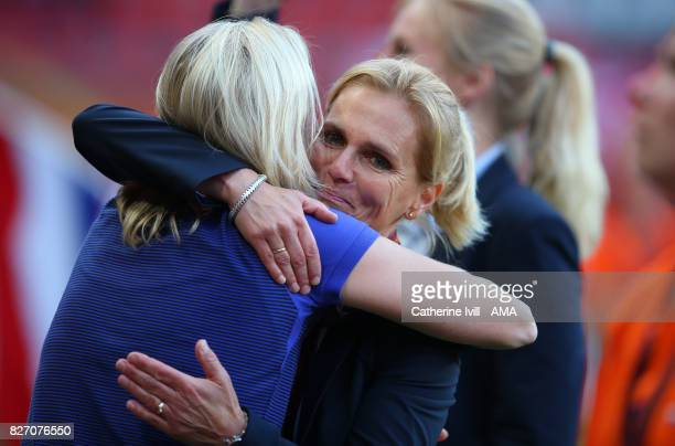 Sarina Wiegman manager / head coach of Netherlands Women gets a hug after the UEFA Women's Euro 2017 final match between Denmark and Netherlands at...