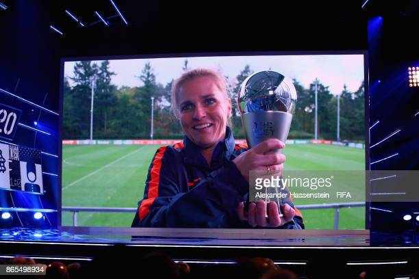 Sarina Wiegman of The Netherlands and The Dutch National Team accepts the award as The Best FIFA Women's Coach during The Best FIFA Football Awards...