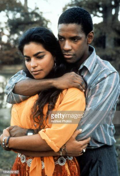Sarita Choudhury is held by Denzel Washington in a scene from the film 'Mississippi Masala' 1991