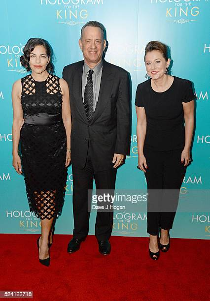 Sarita Choudhury Tom Hanks and Sidse Babett Knudsen arrive for the UK premiere of 'A Hologram For The King' at BFI Southbank on April 25 2016 in...