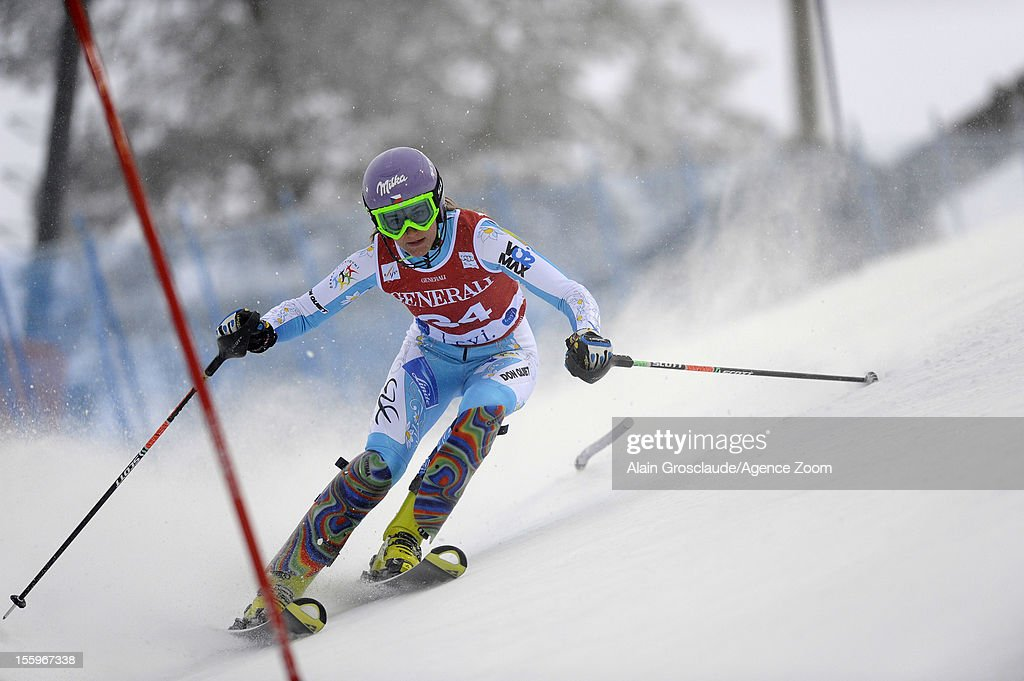 Sarka Zahrobska of the Czech Republic competes during the Audi FIS Alpine Ski World Cup Women's Slalom on November 10, 2012 in Levi, Finland.