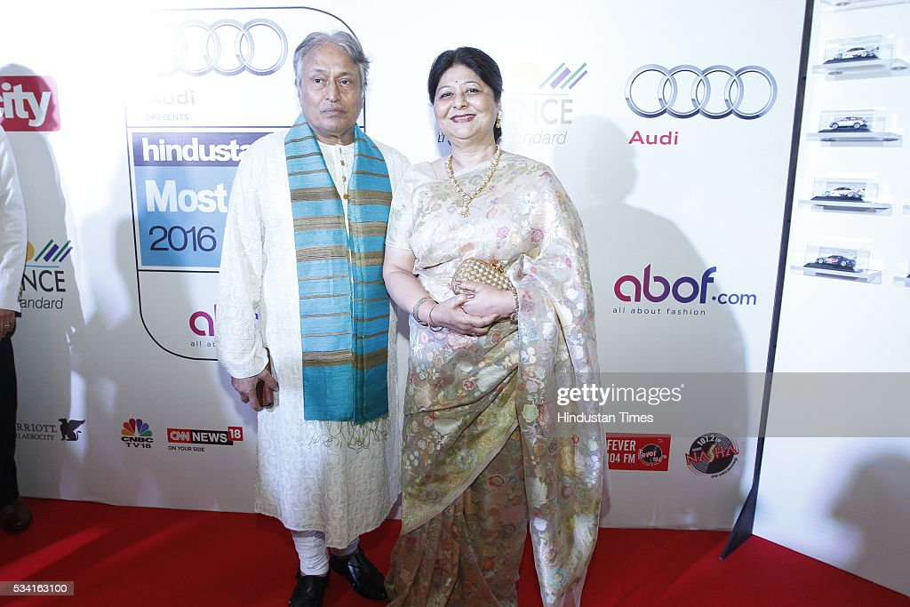 Sarod Virtuoso and Composer Amjad Ali Khan with wife Subhalakshmi Barua Khan at Hindustan Times Most Stylish Awards 2016 at hotel JW Marriot, Aerocity on May 24, 2016 in New Delhi, India.