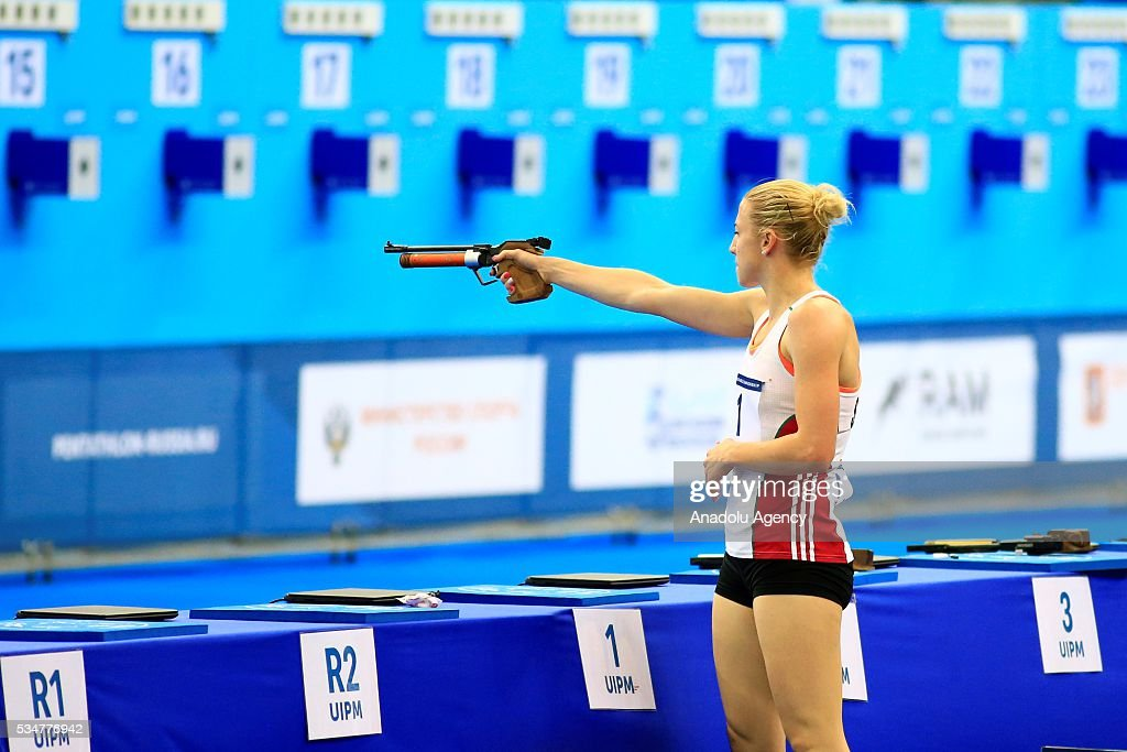 Sarolta Kovacs of Hungary competes during the women's final at the UIPM senior modern pentathlon world championships in Moscow, Russia, on May 27, 2016.