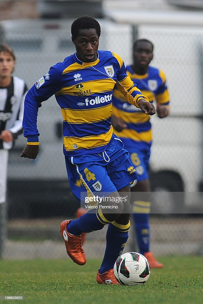 Sarr of FC Parma in action during the Juvenile match between Juventus FC and FC Parma at Juventus Center Vinovo on November 21, 2012 in Vinovo, Italy.