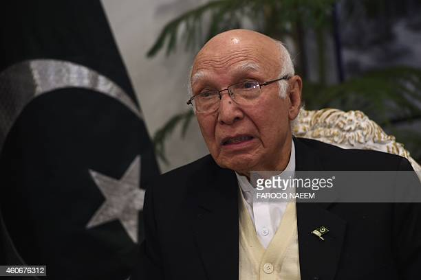 Sartaj Aziz Pakistani Foreign Affairs and National Security Advisor to Prime Minister Nawaz Sharif is interviewed by AFP at the Foreign Ministry in...