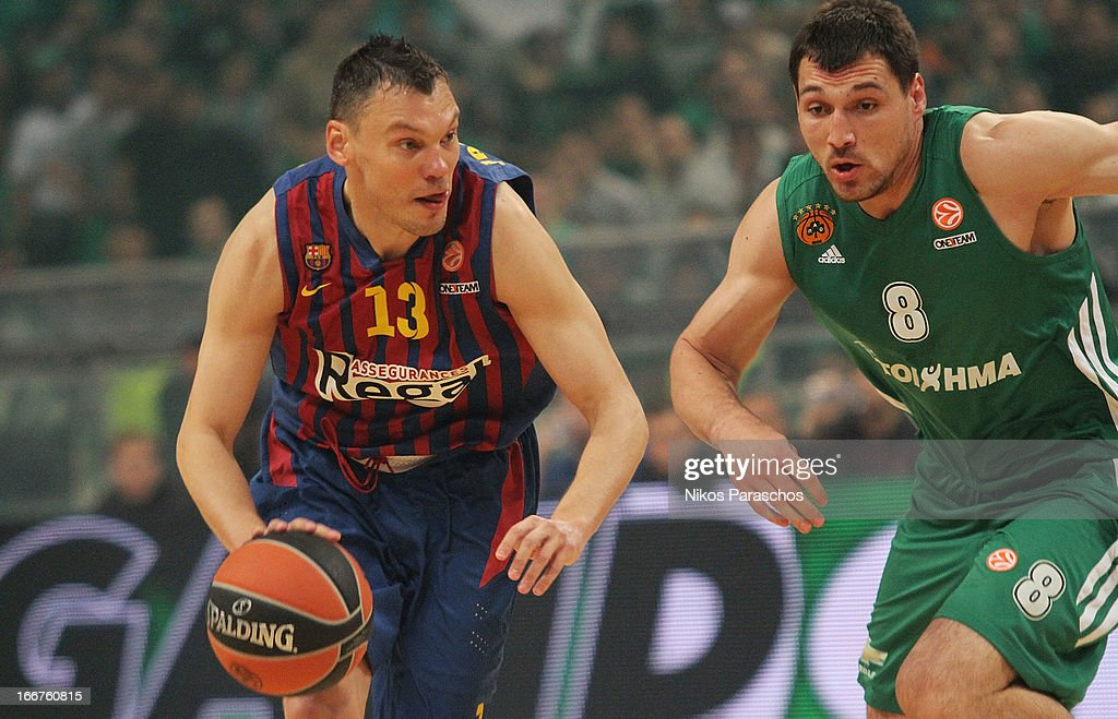 <a gi-track='captionPersonalityLinkClicked' href=/galleries/search?phrase=Sarunas+Jasikevicius&family=editorial&specificpeople=581779 ng-click='$event.stopPropagation()'>Sarunas Jasikevicius</a>, #13 of FC Barcelona Regal competes with Jonas Maciulis, #8 of Panathinaikos Athens during the Turkish Airlines Euroleague 2012-2013 Play Offs game 3 between Panathinaikos Athens v FC Barcelona Regal at OAKA on April 16, 2013 in Athens, Greece.