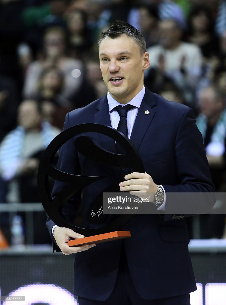 <a gi-track='captionPersonalityLinkClicked' href=/galleries/search?phrase=Sarunas+Jasikevicius&family=editorial&specificpeople=581779 ng-click='$event.stopPropagation()'>Sarunas Jasikevicius</a> at the Euroleague Basketball Legend awards ceremony ahead of the Turkish Airlines Euroleague Basketball Top 16 Date 7 game between Zalgiris Kaunas v Real Madrid at Zalgirio Arena on February 12, 2015 in Kaunas, Lithuania.