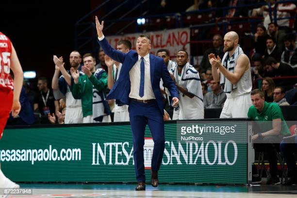 Sarunas Jasikevicius during a game of Turkish Airlines EuroLeague basketball between AX Armani Exchange Milan vs Zalgiris Kaunas at Mediolanum Forum...