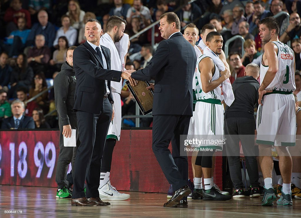 Sarunas jasikevicius, Zalgiris kaunas General manager and Gintaras Krapikas, Head Coach in action during the Turkish Airlines Euroleague Basketball Regular Season Round 9 game between FC Barcelona Lassa v Zalgiris Kaunas at Palau Blaugrana on December 10, 2015 in Barcelona, Spain.