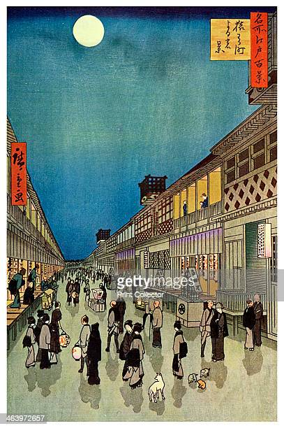 'Saruwaka Cho Yoru Shibai' 1856 Saruwaka Street Yedo with theatres in light of the full moon No 90 of 'The Hundred Views of Yedo' A print from The...