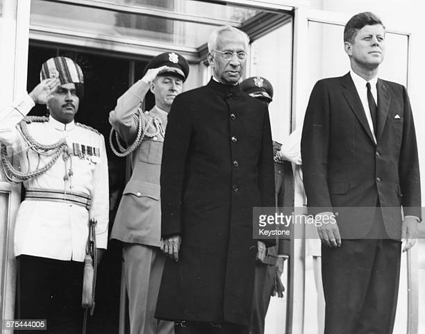 Sarvepalli Radhakrishnan President of India and US President John F Kennedy standing at the North Portico of the White House in Washington DC June...