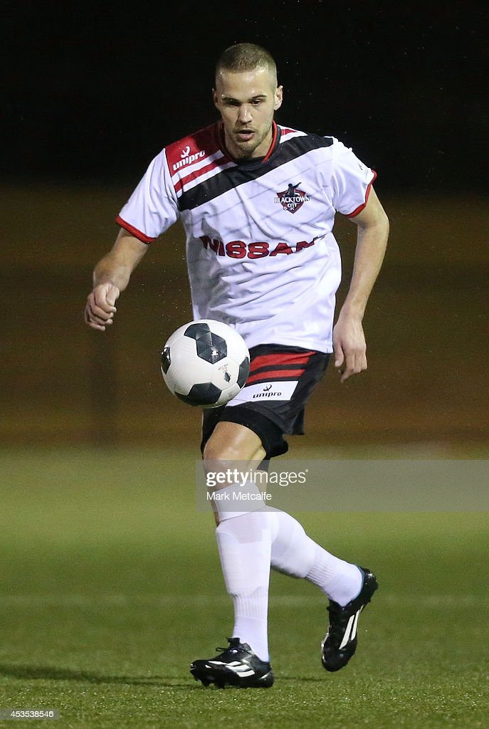 Sasa Macura of Blacktown City controls the ball during the FFA Cup match between Blacktown City and Bentleigh Greens at Lilys Football Centre on August 12, 2014 in Blacktown, Australia.