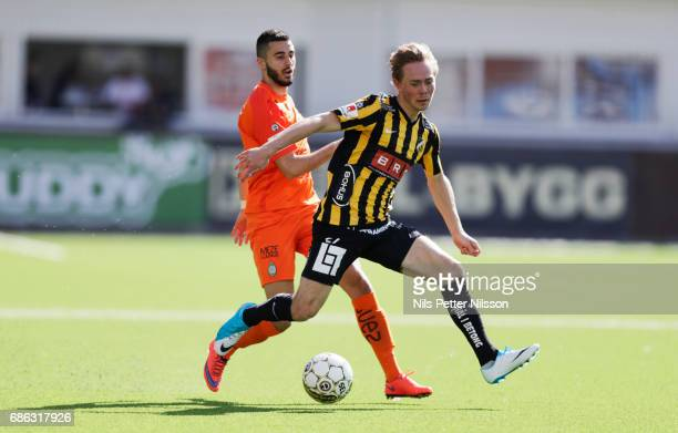 Sasa Matic of Athletic FC Eskilstuna and Joel Andersson of BK Hacken competes for the ballduring the Allsvenskan match between Athletic Eskilstuna FC...